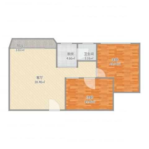 钻石苑2室1厅1卫1厨112.00㎡户型图