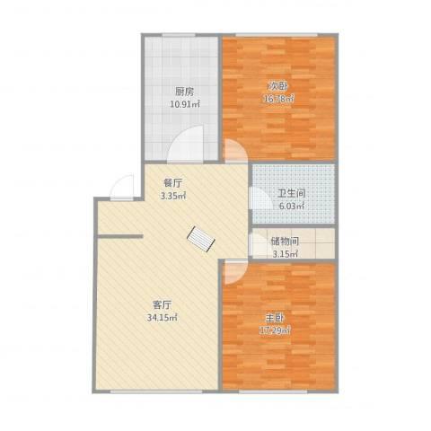 翰林家园2室1厅1卫1厨118.00㎡户型图