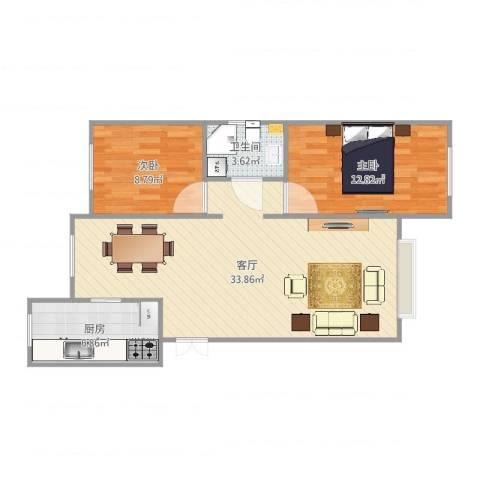 新城御景2室1厅1卫1厨82.00㎡户型图