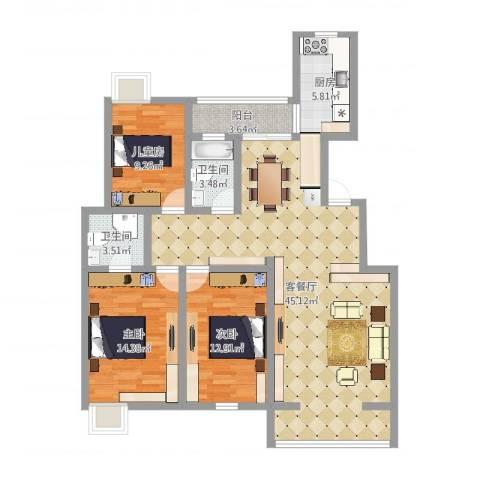 山韵佳苑3室2厅2卫1厨123.00㎡户型图