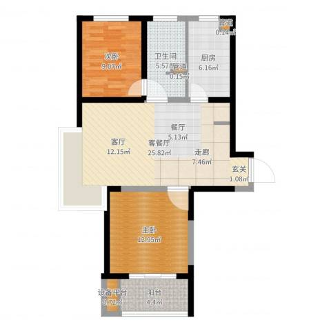 绿地新江桥城2室2厅1卫1厨81.00㎡户型图