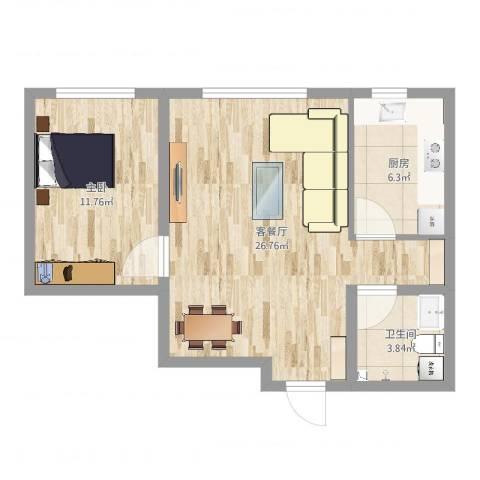 鑫城广场1室2厅1卫1厨61.00㎡户型图