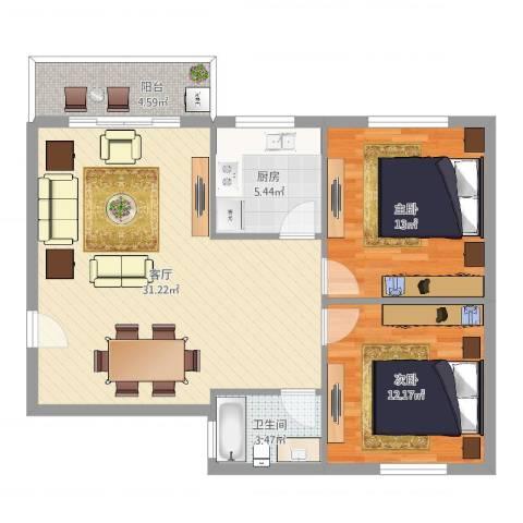 惊驾名庭2室1厅1卫1厨87.00㎡户型图