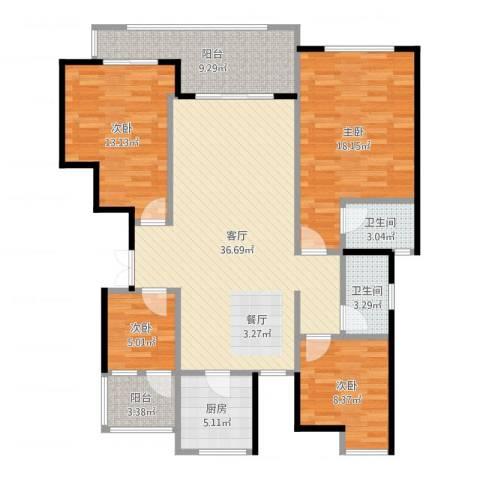 麒麟山庄4室1厅2卫1厨132.00㎡户型图