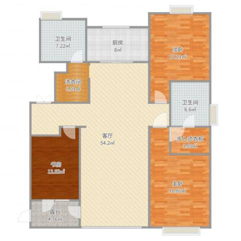 万科城5期万科城华府3室1厅2卫1厨167.00㎡户型图