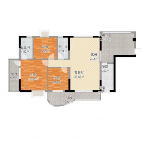 圣堤亚纳3室2厅2卫1厨161.00㎡户型图