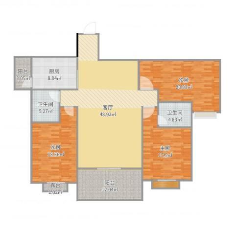 坦洲芳邻雅居3室1厅3卫1厨177.00㎡户型图
