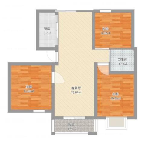 汇景豪庭3室2厅1卫1厨98.00㎡户型图