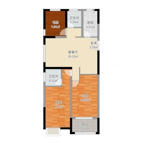 华仪香榭华庭3室2厅2卫1厨112.00㎡户型图