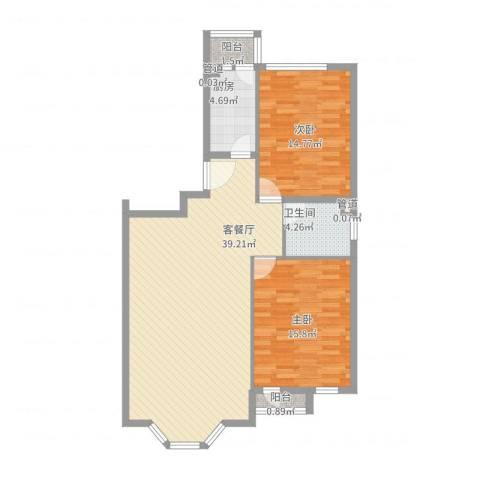 四季香山别墅2室2厅1卫1厨113.00㎡户型图