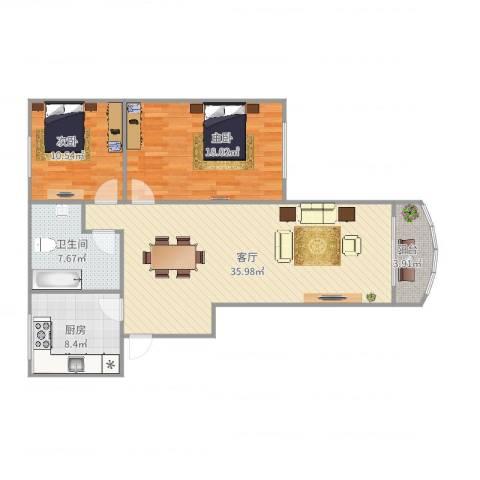 光复新苑2室1厅1卫1厨113.00㎡户型图