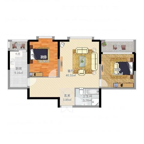 奥林国际公寓2室1厅1卫1厨118.00㎡户型图