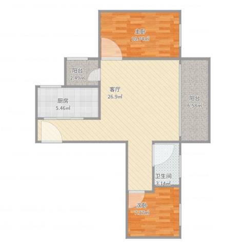 风度国际名苑2室1厅1卫1厨85.00㎡户型图