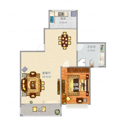 斜土路1212弄公房1室2厅1卫1厨96.00㎡户型图