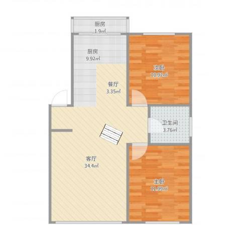 翰林家园2室1厅1卫1厨84.00㎡户型图