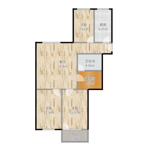 师大北路21号院3室1厅1卫1厨94.00㎡户型图