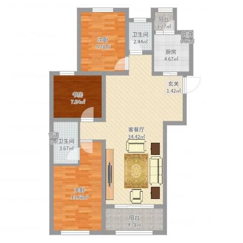 天朗五珑3室2厅2卫1厨103.00㎡户型图