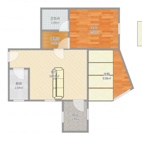 道家园小区2室1厅1卫1厨58.00㎡户型图