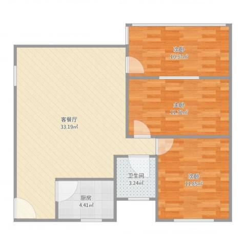 乐易居B座03083室2厅1卫1厨100.00㎡户型图