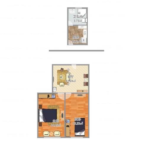 鞍山一村2室1厅1卫1厨63.00㎡户型图