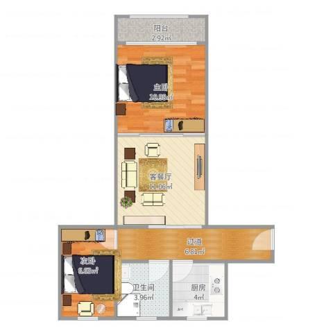 宝林九村2室2厅1卫1厨64.00㎡户型图