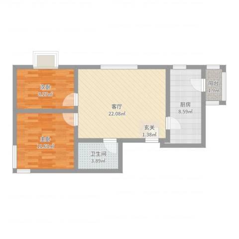 广福家园2室1厅1卫1厨70.00㎡户型图