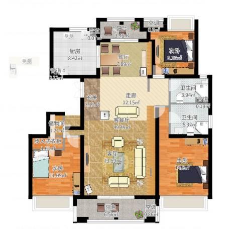 尼德兰花园二期3室2厅2卫1厨145.00㎡户型图