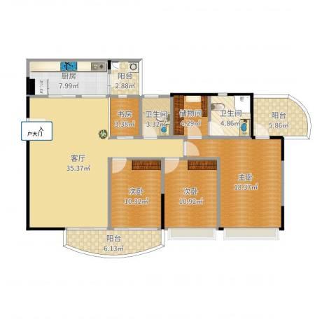 农科院小区4室1厅2卫1厨142.00㎡户型图