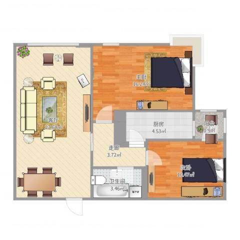 北苑家园茉藜园2室1厅1卫1厨85.00㎡户型图
