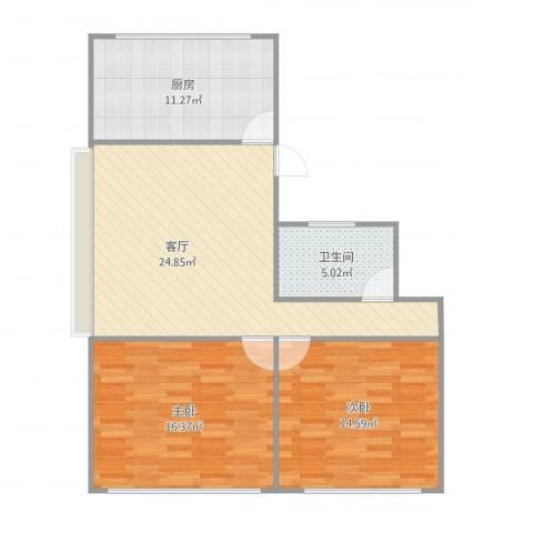 兴隆家园2室1厅1卫1厨77.05㎡户型图
