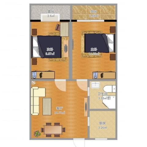 儿科大楼2室1厅1卫1厨60.00㎡户型图
