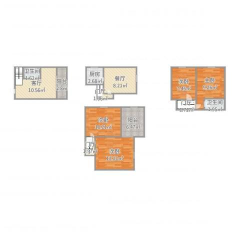 上海诗林4室2厅2卫1厨107.00㎡户型图