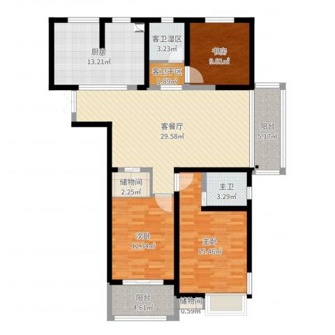 保利香槟国际3室2厅3卫1厨126.00㎡户型图