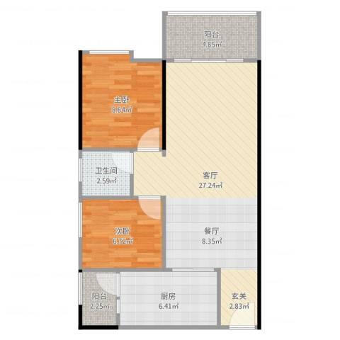 鹏达・丽水湾2室1厅1卫1厨74.00㎡户型图