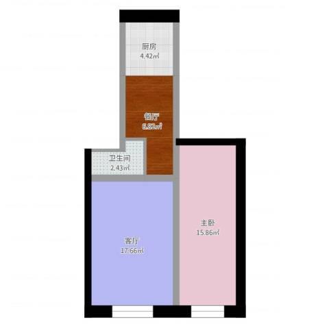 轻铁湖西花园1室2厅1卫1厨59.00㎡户型图