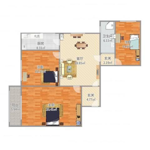 国和大楼3室1厅1卫1厨121.82㎡户型图