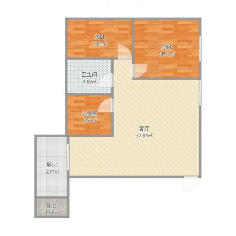 南京桥西苑3室1厅1卫1厨88.00㎡户型图