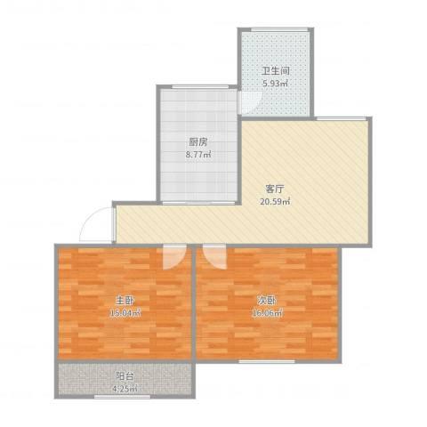 宝启公寓2室1厅1卫1厨88.00㎡户型图