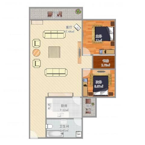 世纪康城3室1厅1卫1厨122.00㎡户型图