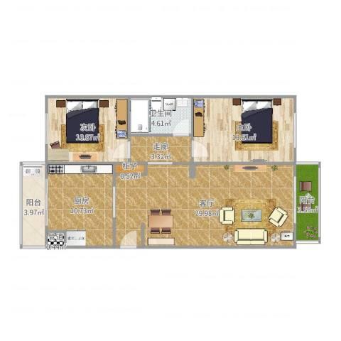 天津泰达清新园2室1厅1卫1厨102.00㎡户型图