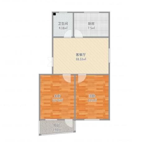 昆山玉龙新村朱小姐雅宅2室2厅1卫1厨82.00㎡户型图