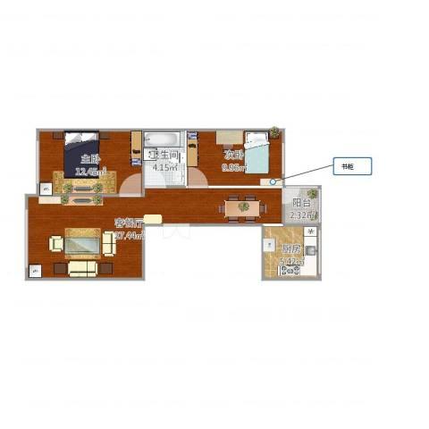 万科金域平江2室2厅1卫1厨77.00㎡户型图