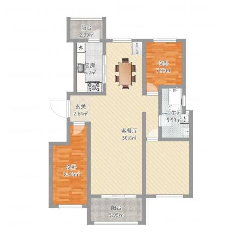 逸境华府2室2厅1卫1厨114.00㎡户型图