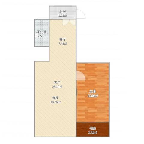上南四村1室1厅2卫1厨61.00㎡户型图