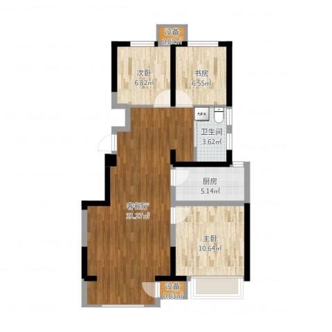 宝龙城3室2厅1卫1厨82.00㎡户型图