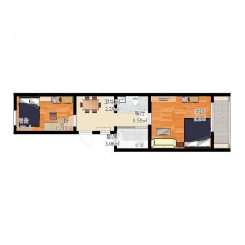永乐西区2室1厅1卫1厨53.00㎡户型图