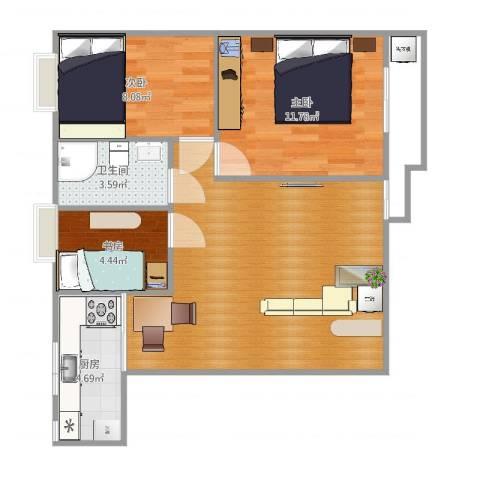 桥西苑3室1厅1卫1厨69.00㎡户型图