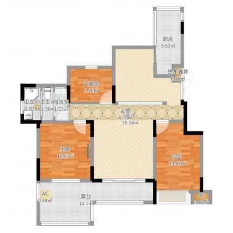 中星湖滨城四期3室4厅3卫1厨100.00㎡户型图
