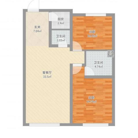 伊湾・尊府2室2厅2卫1厨85.00㎡户型图