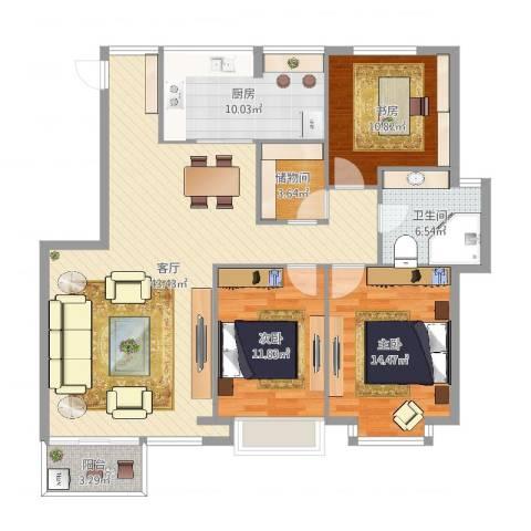 天合家园3室1厅1卫1厨130.00㎡户型图
